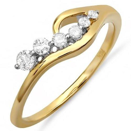 DazzlingRock Anillo de compromiso de oro amarillo de 14 quilates con diamantes redondos para mujer (0,25 quilates, color H-I, claridad I1)