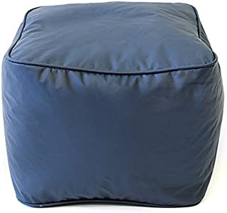 Single Piece Bright Navy Blue Home Decor Leather Look Ottoman, Modern Contemporary Style, 250-Pound Weight Capacity, Double Stitched, Ideal For Foot Rest And Extra Seat