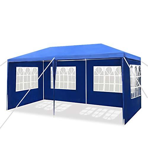 Aufun Pavillon Wasserdicht 3x6 m Blau Gartenpavillon mit 4 Seitenwände Polyethylen Bierzelt Tür mit Reisverschluss für Garten Party Hochzeit Picknick Markt