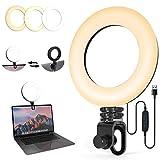 Anillo de Luz 6.3' Video Led para Monitor con Clip 360 ° Giratorio de Mesa con Ventosa Luz Portátil Webcam Light para Videoconferencia, Maquillaje