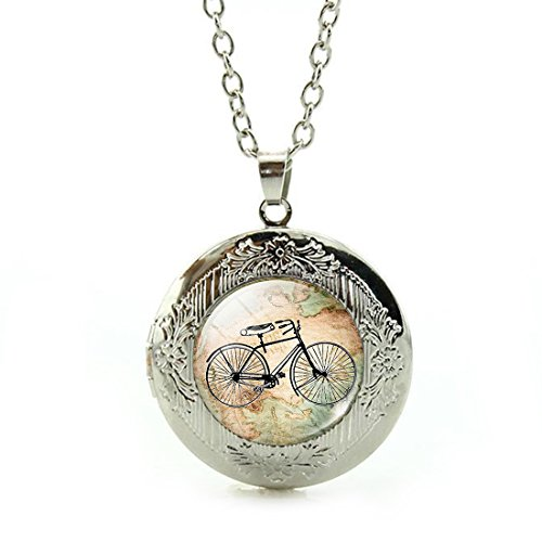 Women's Custom Locket Closure Pendant Necklace Vintage Bicycle Map Included Free Silver Chain, Best Gift Set