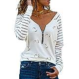 Tree-es-Life Camisa de Manga Corta con Estampado de Rayas y Cuello en V para Mujer, Camiseta Informal Holgada de Verano, Suave y Fina, Camisa Blanca de Manga Larga 3XL