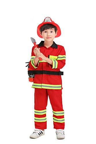 yolsun Fireman Role Play Costume for Kids, Boys' and Girls' Firefighter Dress up and Play Set (7 pcs) (2-3y, red)