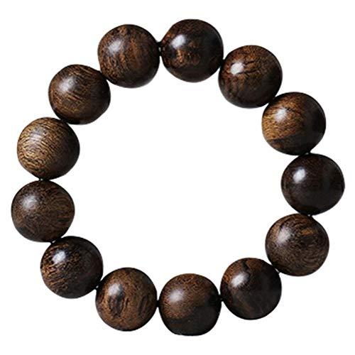 Tbagem-Yjr Agarwood Buddha Bead Bracelet 18mm Men's Hand Bead Wristband Rosary Meditation