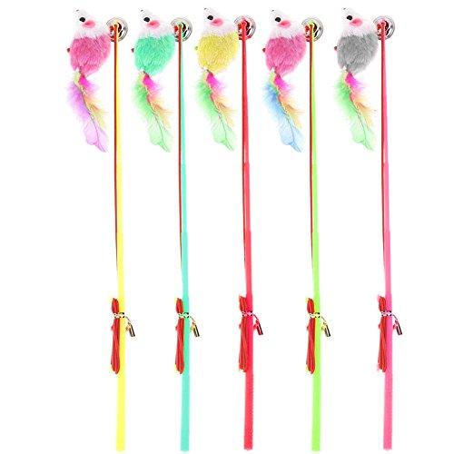 .a Angelruten-Stil, bunt, Katzenspielzeug, elastisches Seil mit Federstab.