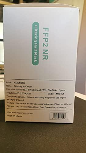 MEZORRISON - FFP2 Maske - 50 Masken - MZC-KZ - Zertifiziert nach EN 149:2001 + A1:2009 - CE 0370 - Verpackt in 10 praktischen Beuteln mit 5 Masken
