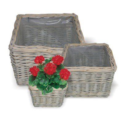 Gorgeous Lot de 3 pots de fleurs carrés en Provence ultra résistant et osier beige