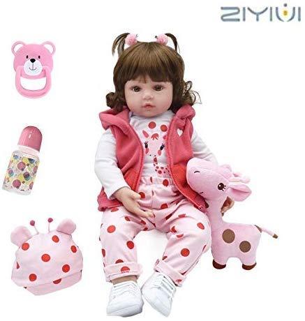 ZIYIUI 22 Pulgadas 55 cm Reborn Muñecas bebé Realista Suave Silicona Simulación Vinilo Recién Nacido Hecho a Mano Bebe Muñecos Regalo Magnetismo Juguetes para niños Mayores de 3 años