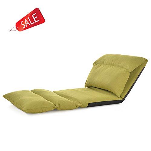 Chaise de sol pliable relaxant Canapé-lit paresseux avec plusieurs salon réglable Lounge Lounger Sleeper Futon Matelas Seat Chair w/oreiller (Color : Green)
