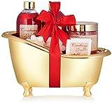 BRUBAKER Cosmetics Set de baño y ducha Cranberry Love - Set de regalo de 6 piezas en bañera decorativa dorada