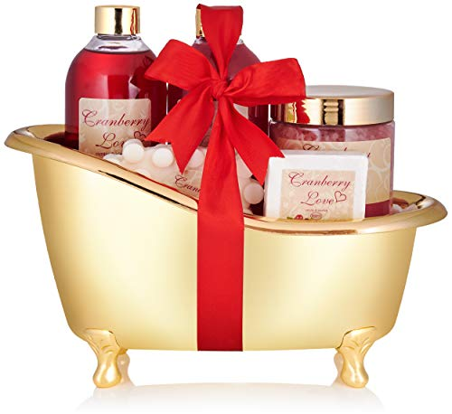 BRUBAKER Cosmetics Bade- und Dusch Set Cranberry Love - 6-teiliges Geschenkset in goldener Deko-Wanne