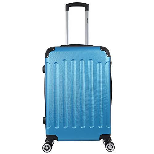 Arebos Eco Hartschalen Koffer Rollkoffer Reisekoffer Handgepäck aus ABS Material mit Zahlenschloss und 4 Rollen (blau, M (Handgepäck))