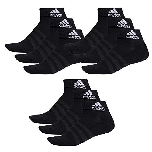 adidas 9 Paar Performance Sneaker/Quarter Socken Unisex Kurzsocke, Farbe:Black, Socken & Strümpfe:43-45