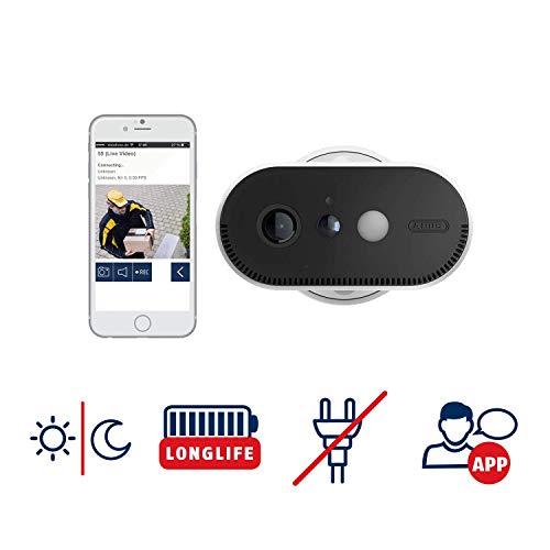 ABUS Akku-Überwachungskamera PPIC90520 WLAN HD Kamera für Innen und Außen - Nachtsicht - 120 Grad Blickwinkel - 100 % kabellos  -  weiß - 87916