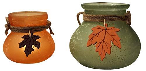 khevga Teelicht-Set Herbst mit Blättern 2er Set