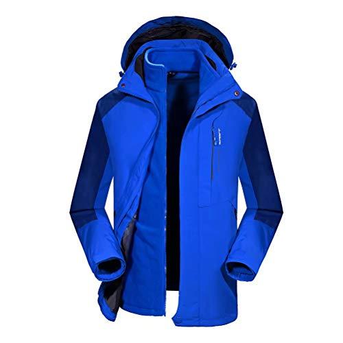 JIANYE Wanderjacke Damen Outdoorjacke Herren Wasserdicht Winter 3 in 1 Jacke Atmungsaktiv Funktionsjacke Blau 3XL