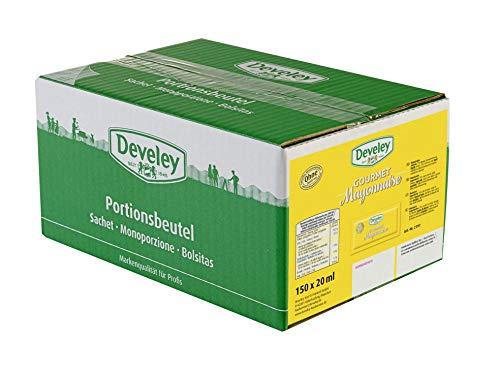 DEVELEY Gourmet Mayonnaise – 150 x 20 ml Pack - Portionsbeutel - Mayonnaise – Original Develey Rezeptur – Gluten-frei und vegetarisch – Mayonnaise