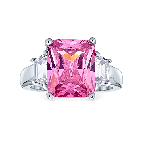 Art Deco Style .925 Sterling Silver 8CT Pink AAA CZ Rectangle Emerald Cut Cocktail Statement Engagement Ring For Women Cubic Zirconia Baguette Side Stones