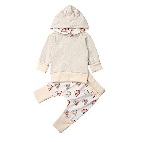Hnyenmcko Peuter Kids Baby Meisje Herfst Casual Kleding Trui Hoodie Sweatshirt Regenboog Broek Tracksuit Winter Outfits 2 Stks Set