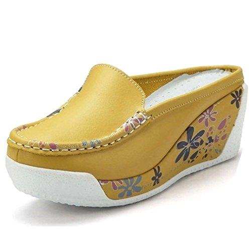 Solshine Pantuflas de piel para mujer, con plataforma y cuña, para mujer, color Amarillo, talla 36 EU