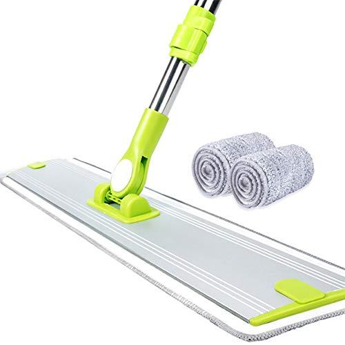 JKLJKL 360 graden draaibare dweil, platte dweil met microvezel vervangende pad voor het reinigen van planken en hardhouten vloeren