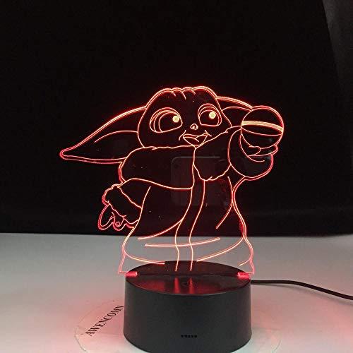 Lampe optische Täuschung Star Wars Baby Yoda Meme Figur Geeignet für Kinder, Familie, Freunde, Geburtstag, Valentinstag, Weihnachtsgeschenke -16_color_with_remote