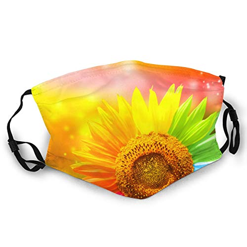 WLYDYS Sunflower Colorful Halloween Adult Dual Front Dustproof Protective Masks Face Mask Mouth Mask Mouth Cover Scarf Mask Camping/Outdoor Washable and Reusable Waterproof for Women