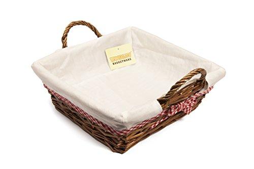 Woodluv cuadradas 30 x 31 cm cesto Mimbre Forro Blanco