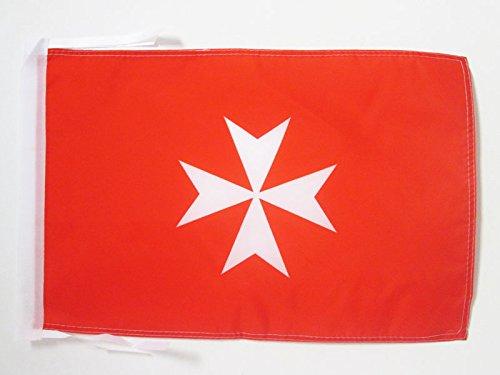 AZ FLAG Flagge Geschichte des JOHANNITERORDENS TÄTIGKEIT 45x30cm mit Kordel - Malta Orden Fahne 30 x 45 cm - flaggen Top Qualität