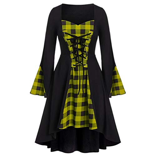 Kanpola Damen Kleid Sexy V-Ausschnitt Kleider Dress Verstellbarer Riemen Gitter Langarm Maxikleid Halloween Party Karneval Abendkleid Kleidung Kostüm