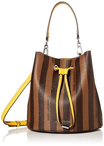 Karl Lagerfeld Paris Damen Adele Bucket Bag Eimer, Braun/Khaki/Mango, Einheitsgröße