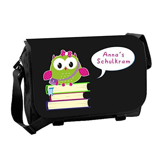 Mein Zwergenland Messenger Bag Schulkram mit Namen, 14 L, schwarz