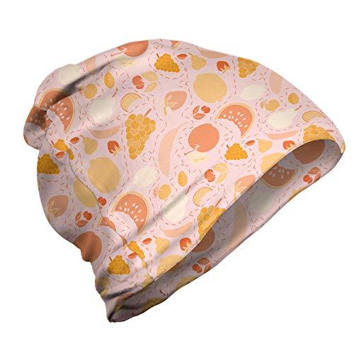 ABAKUHAUS Orange Unisex Beanie, Summer Fruits pfirsichfarbene Töne, Wandern im Freien, Peach Blassrosa und Blush