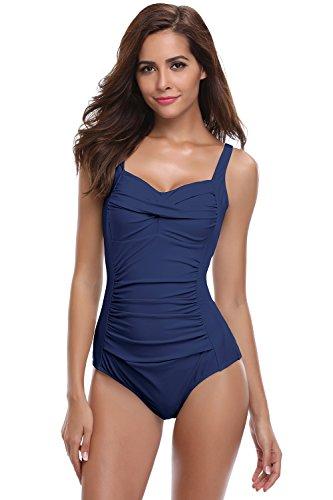 SHEKINI Damen Einteilige Blumen Einfarbig Badeanzug Monokini Verstellbarer Oder Nicht Verstellbarer Schultergurt Badeanzüge Falten Bademode Schwimmanzug, A-dunkelblau, XL