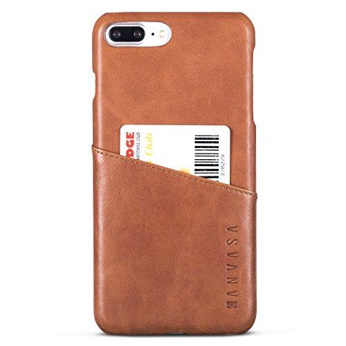 Funda iPhone 8 Plus/Funda iPhone 7 Plus Piel Marrón - KANVASA Case Cover Carcasa Tapa Trasera Cards en Piel Auténtica Premium con Cartera para Apple iPhone 8 Plus & 7 Plus - con Bolsillo Tarjetero