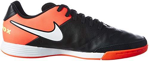 Nike Herren Tiempo Genio II Leather IC Fußballschuhe, Schwarz (Black/White/Hyper Orange/Volt), 40 EU