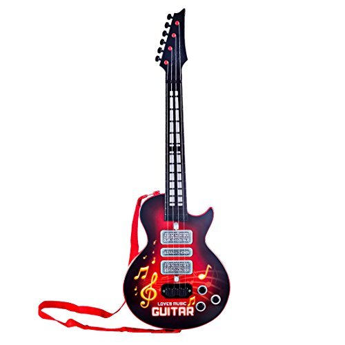 Rocking Gitarre, Vicoki 4 Saiten Musik E-gitarre Kinder Musikinstrumente Frühen Pädagogisches Spielzeug mit Spielen Licht 53cm (Rot)