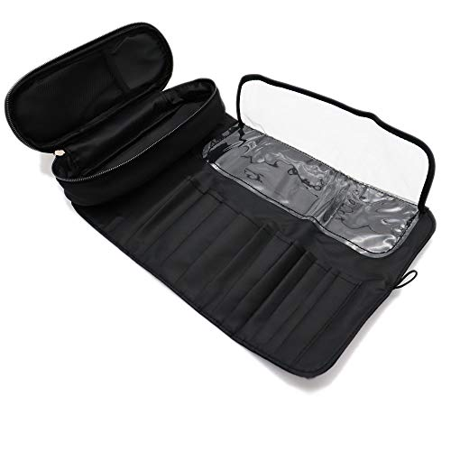 12-Hole Travel Makeup Brush Holder, Waterproof Cosmetic Organizer Rolling Bag with Zippered Pouch