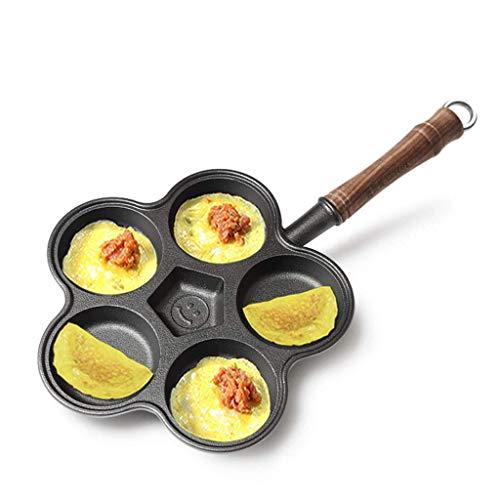 BANANAJOY Hierro fundido huevo de masa hervida Pot, 26.6cm 5-agujeros tortilla Pan Notstick con pala cepillo batidor de huevo