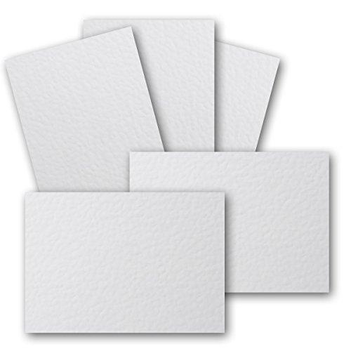 50 Stück DIN A6 Karton gehämmerte Struktur - Farbe: Weiss - 105 x 148 mm - 250 g/m² - Einzelkarte ohne Falz - Ideal zum Basteln, Scrapbooking, Grußkarte - Gustav NEUSER