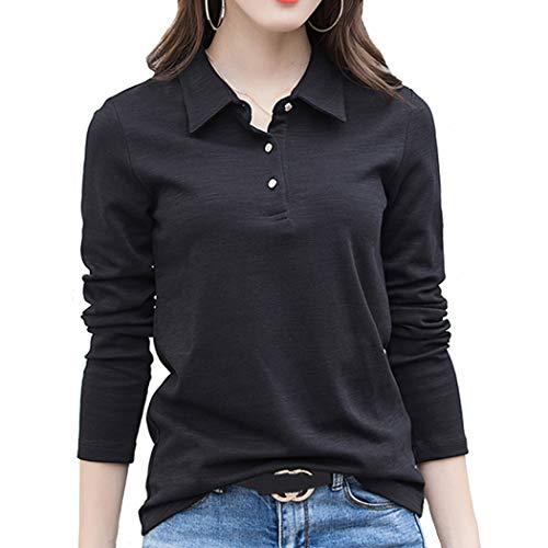 SAGOJP ポロシャツ レディース 襟付き トップス 長袖 ゴルフ シャツ テニスウェア ボウリングウェア スキッパー ポロ シャツ 女性 洋服 5色 M-4XL 3つボタン-黒-XL
