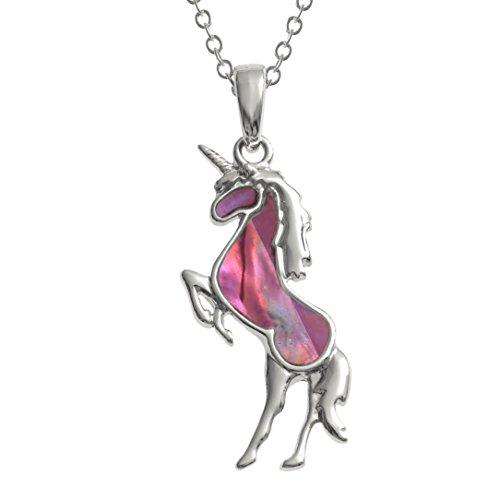 Kiara gioielli unicorno ciondolo collana intarsiato con naturale rosa e blu paua abalone su 45,7cm catena forzatina. Non si ossida colore argento rodiato.