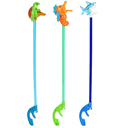 Kicko Assorted Plastic Sea Life Grabber - 6 Pack - Picking Tool for Small Objects, Kids Toy - 20 Inch Hand Extender, Shop Item, Mobility Aid, School Rewards Assortments May Vary