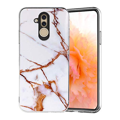 Misstars Coque en Silicone pour Huawei Mate 20 Lite Marbre, Ultra Mince TPU Souple Flexible Housse Etui de Protection Anti-Choc Anti-Rayures pour Huawei Mate 20 Lite, Blanc Or