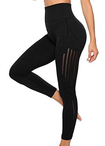 INSTINNCT Damen Yoga Lange Leggings Slim Fit Fitnesshose Sporthosen #3 Laser Stil - Schwarz L