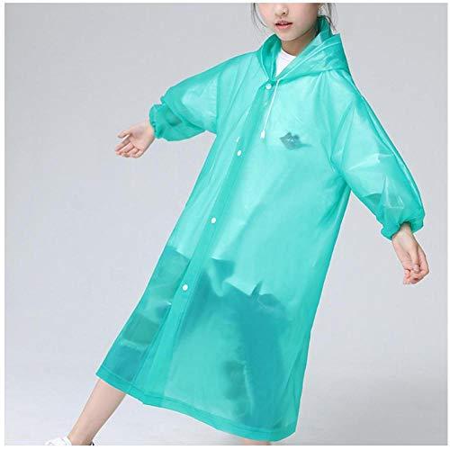 zhaoyangeng 2 Stks Eva Materiaal Goede zachtheid En Rubber Elasticiteit Eva Regenjas Regen Poncho Transparant Hoodie Waterdicht Kind Niet-Verwijderbaar (Groen)