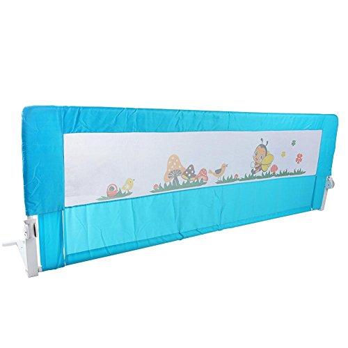 EBTOOLS Barrera de Cama Abatible 180 x 64cm, Barandilla de la Cama para Bebés Portátil y Estable Barrera de Seguridad Barandilla Seguridad de Cama para Bebés Niños, Color Azul