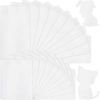 24 Sheets Iron-on Mending Patch Fabric Repair Patch 4.92 x 11 Inch and 4.93 x 3.74 Inch for Mending Clothes Pants Pockets Jeans Holes Knees Elbow Supplies  White