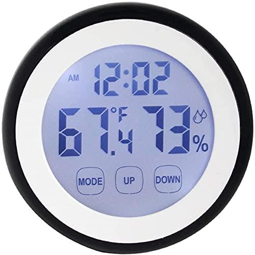 DZCGTP Reloj Despertador Digital, termómetro e higrómetro de Calendario perpetuo electrónico Modo Nocturno electrónico Reloj de Pared Redondo Redondo Pantalla LCD