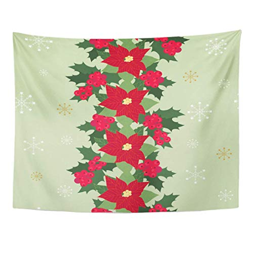 ShiHaiYunBai Tapestry Wall Hanging Christmas Poinsettia Flowers Holly Berries and Snowflakes for of Packaging 60'x 80' Home Decor Art Tapestries for Bedroom Living Room Dorm Apartment